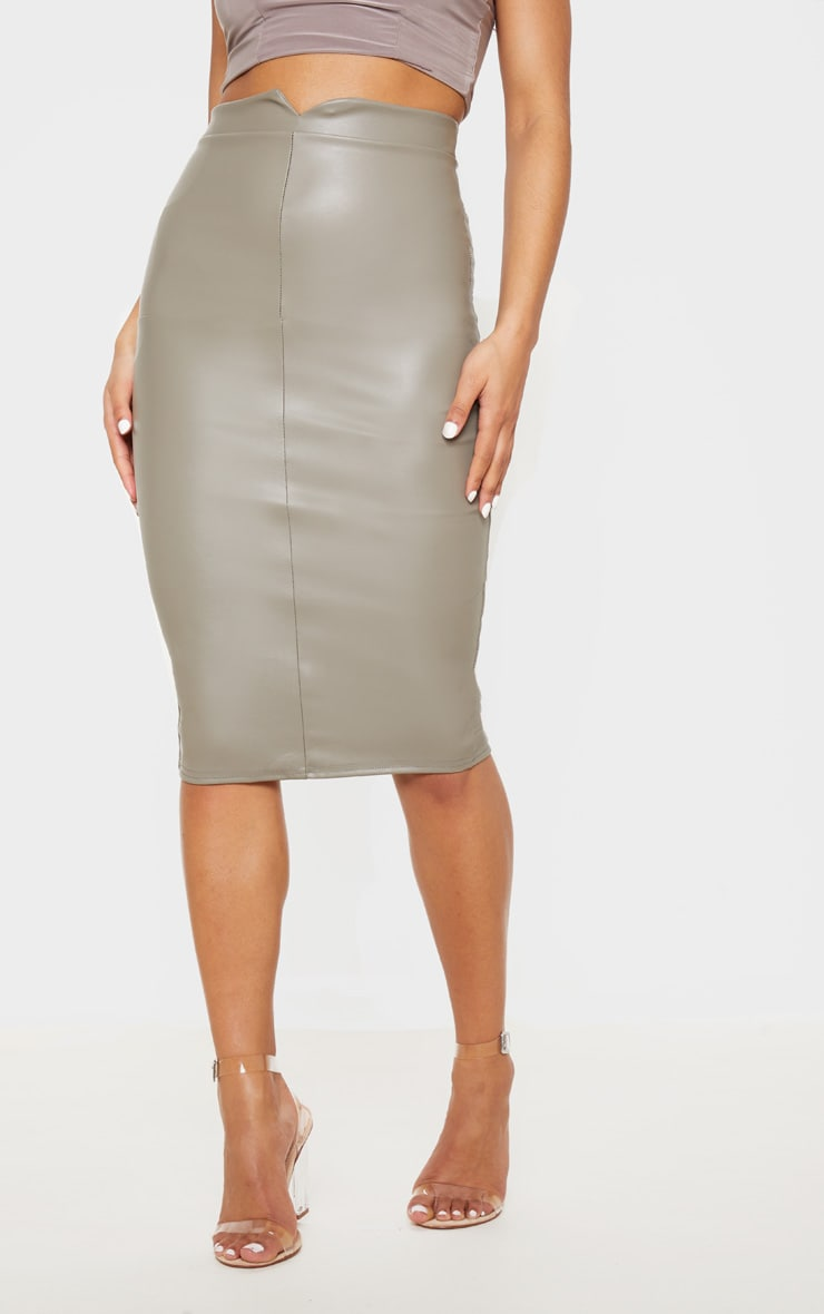 Eva Taupe Faux Leather Panel Midi Skirt 2