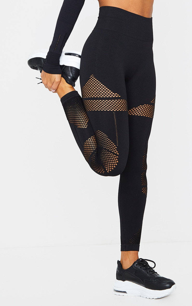 Black Cut Out Panel Seamless Gym Leggings 2