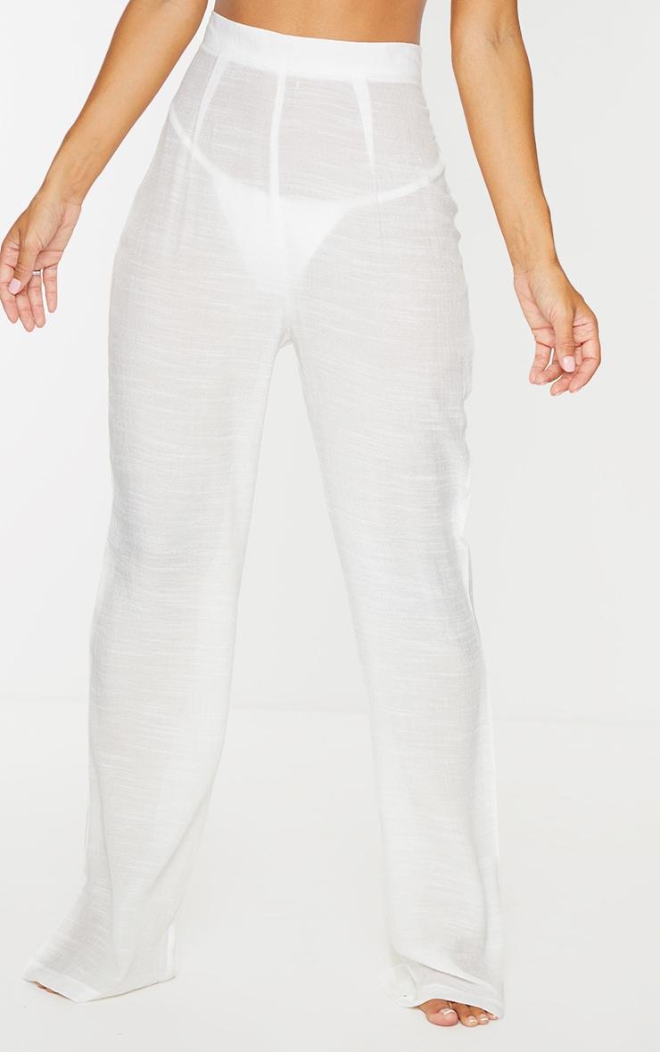 White Wide Leg Linen Look Beach Pants 2