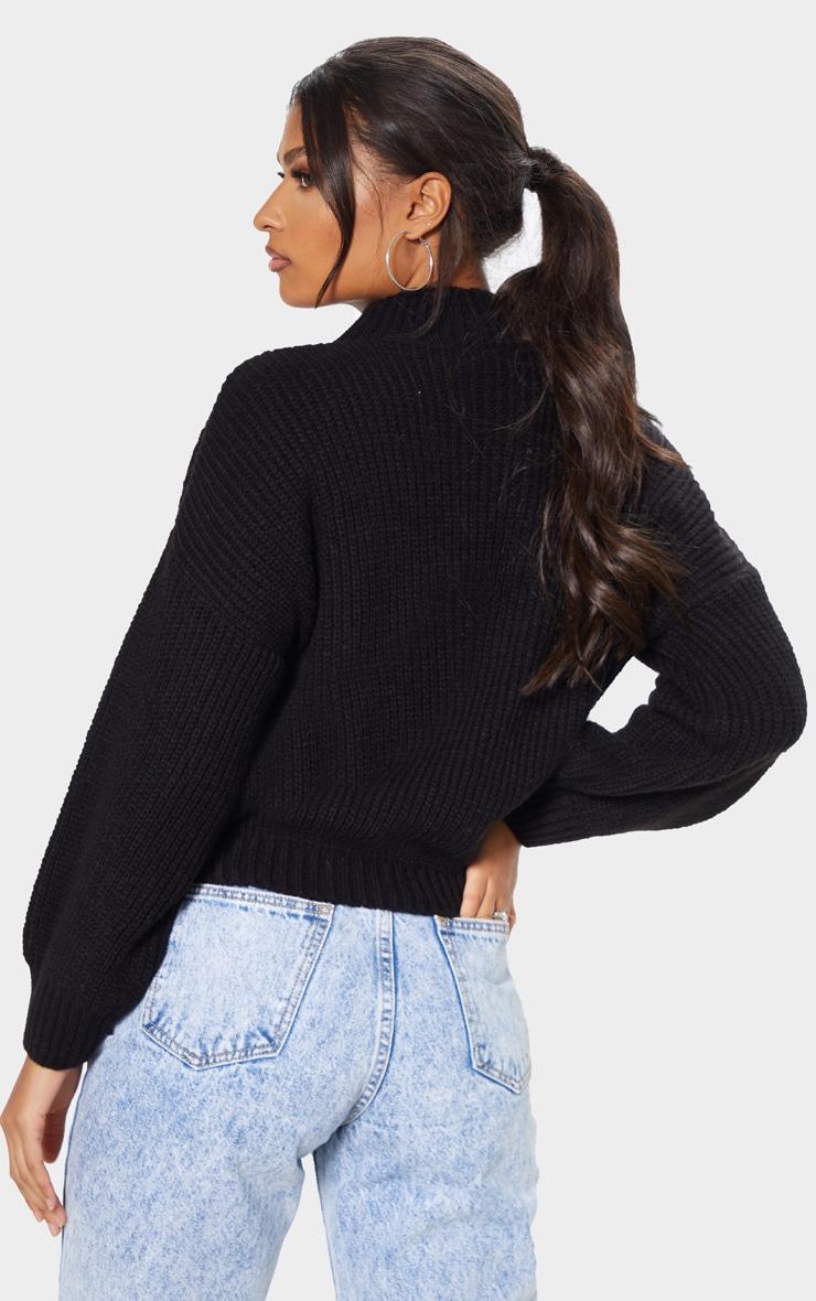 Black Balloon Sleeve Fluffy Sweater 2