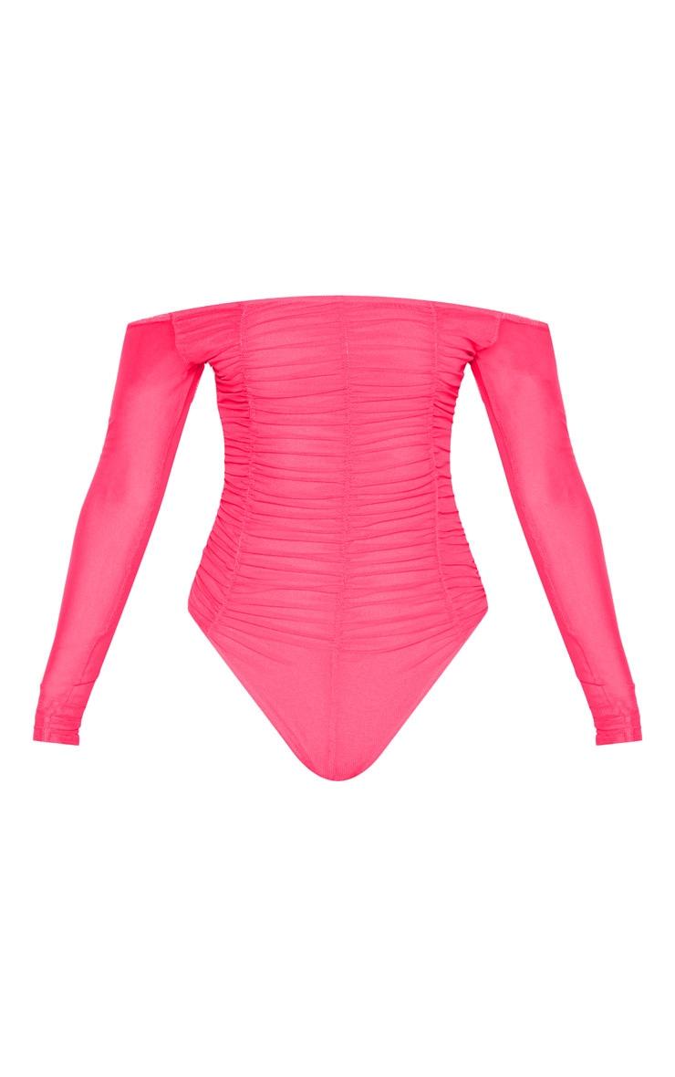 Hot Pink Mesh Ruched Panel Bardot Bodysuit 1