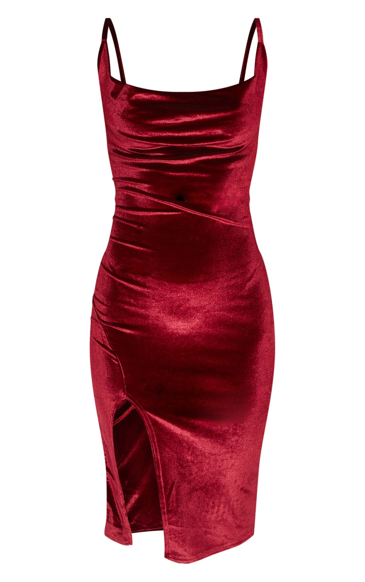 Burgundy Velvet Strappy Cowl Neck Split Detail Midi Dress 3