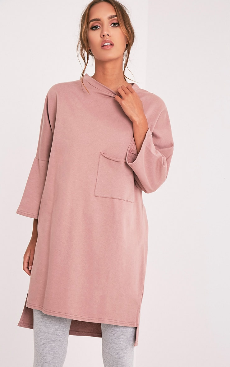 Ceara Dark Mauve Split Side Sweater Dress 1
