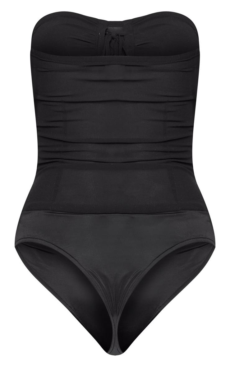 Black Chiffon Lace Up Bandeau Bodysuit 5