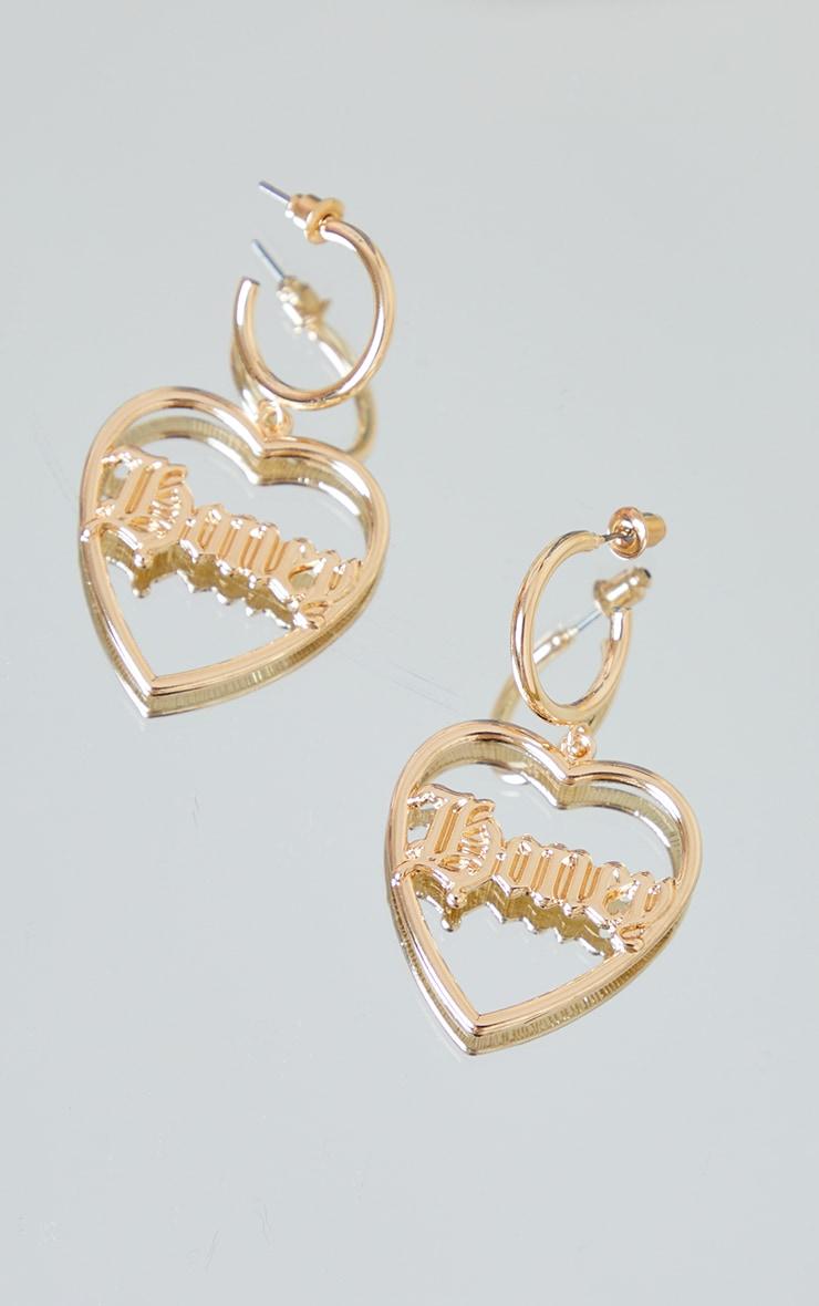 Gold Honey Heart Statement Earrings 1