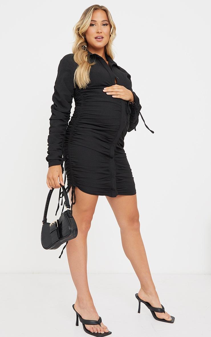 Maternity Black Textured Woven Ruched Bump Long Sleeve Shirt Dress 3