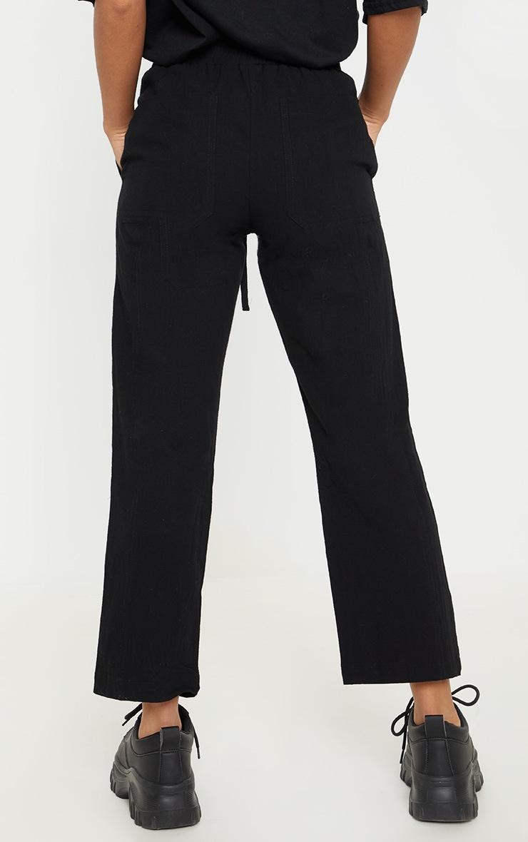 Petite Black Drawstring Woven Straight Leg Pants 4