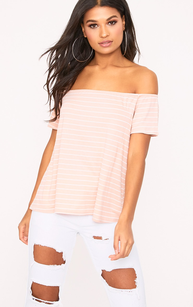 Pink Stripe Bardot Top 1