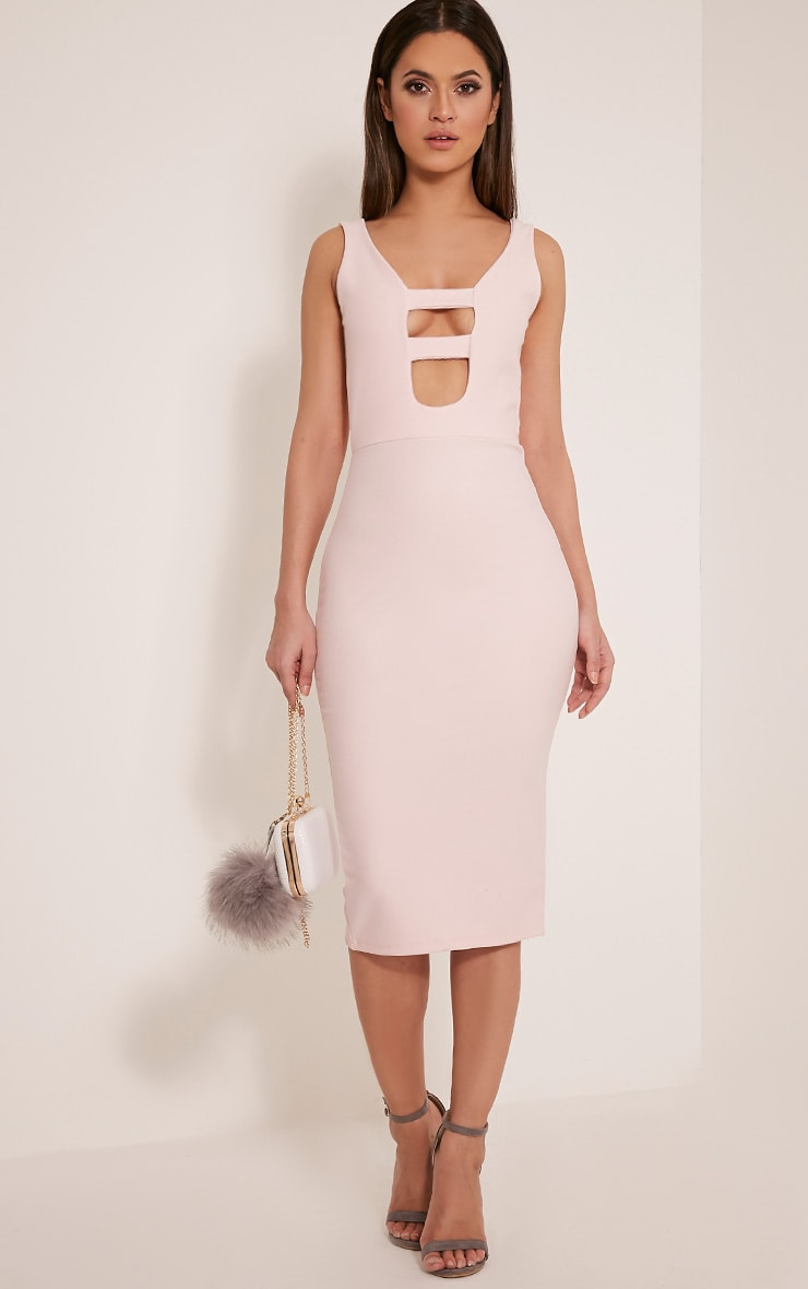 Iris Blush Double Strap Detail Crepe Midi Dress 1