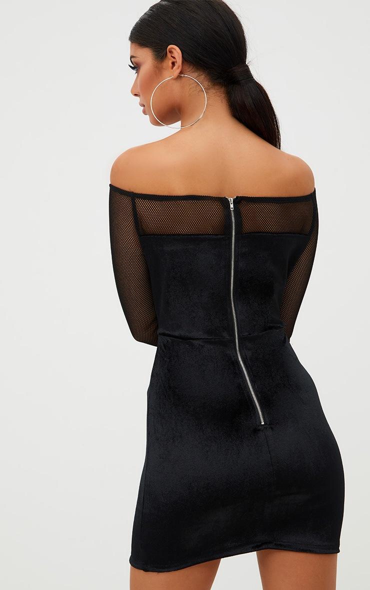 Black Fishnet Ring Detail Bardot Bodycon Dress 2