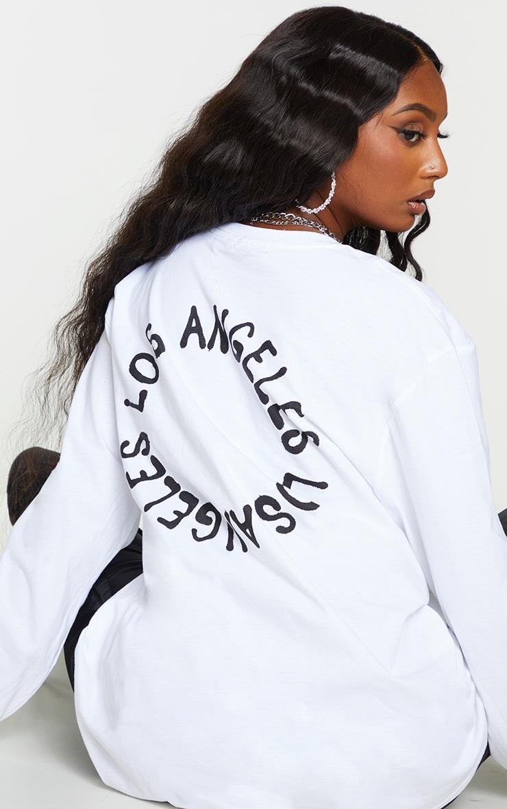 White LA Oversized Long Sleeve T Shirt 1