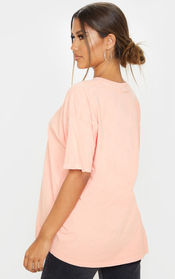 Peach Not Complicated Slogan Washed Oversized T Shirt 2