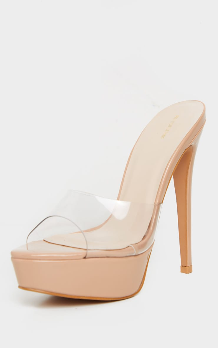 Nude High Platform Clear Mule Sandals 3