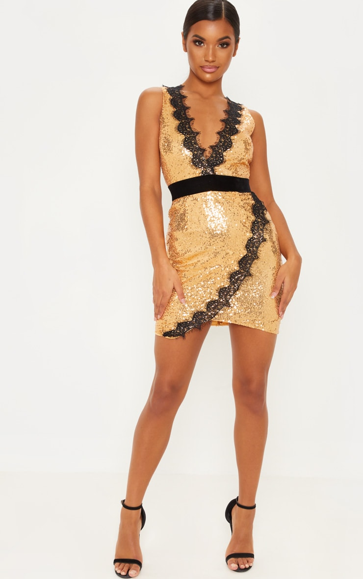 Gold Sequin Lace Insert Bodycon Dress 4