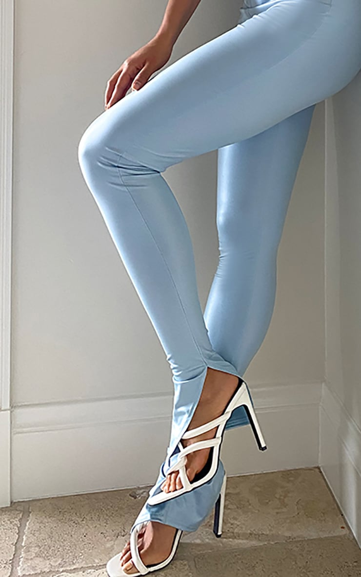Tall Baby Blue Split Hem Coated PU Legging 4