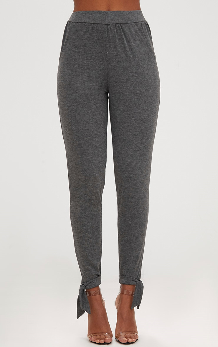 Charcoal Jersey Loose Tie Hem Joggers 2