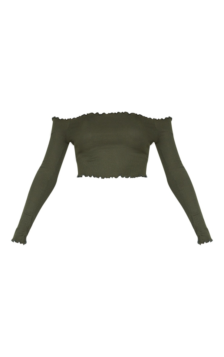 Khaki Frill Edge Crop Top 3