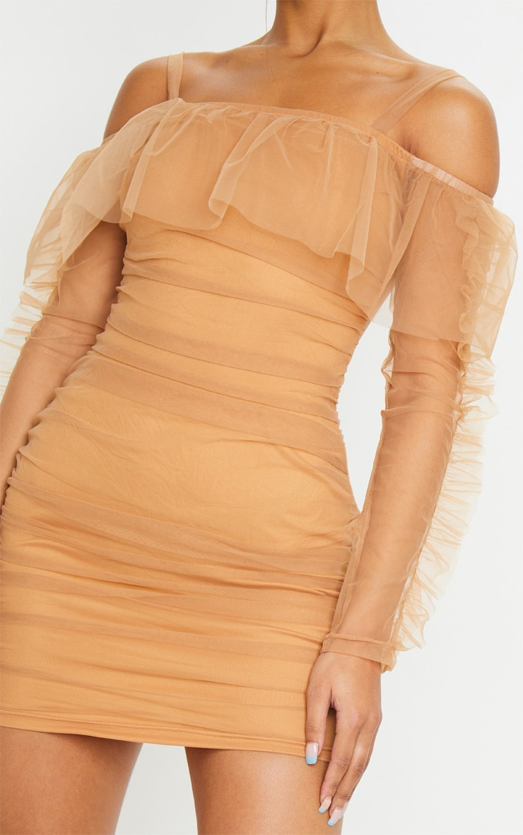 Nude Organza Ruched Bardot Frill Bodycon Dress 4