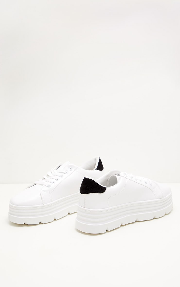 White Cleated Sole Flatform Lace Up Sneakers 3