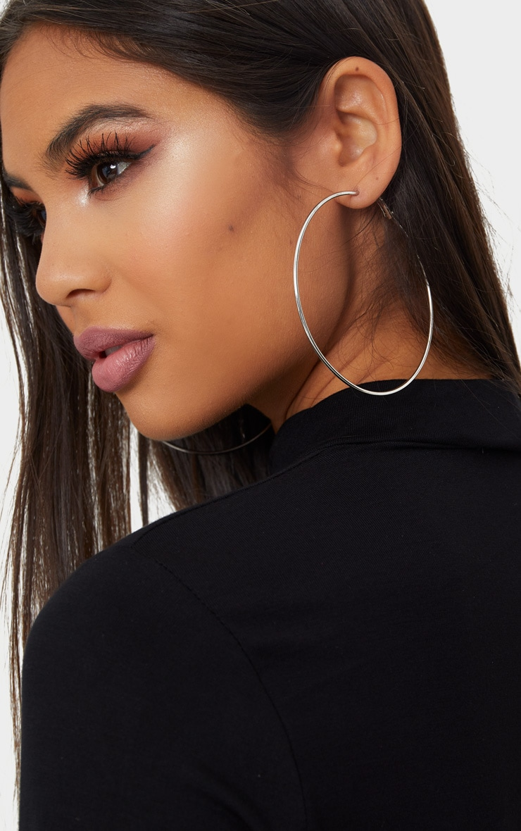 Silver 80mm Large Hoop Earrings 2