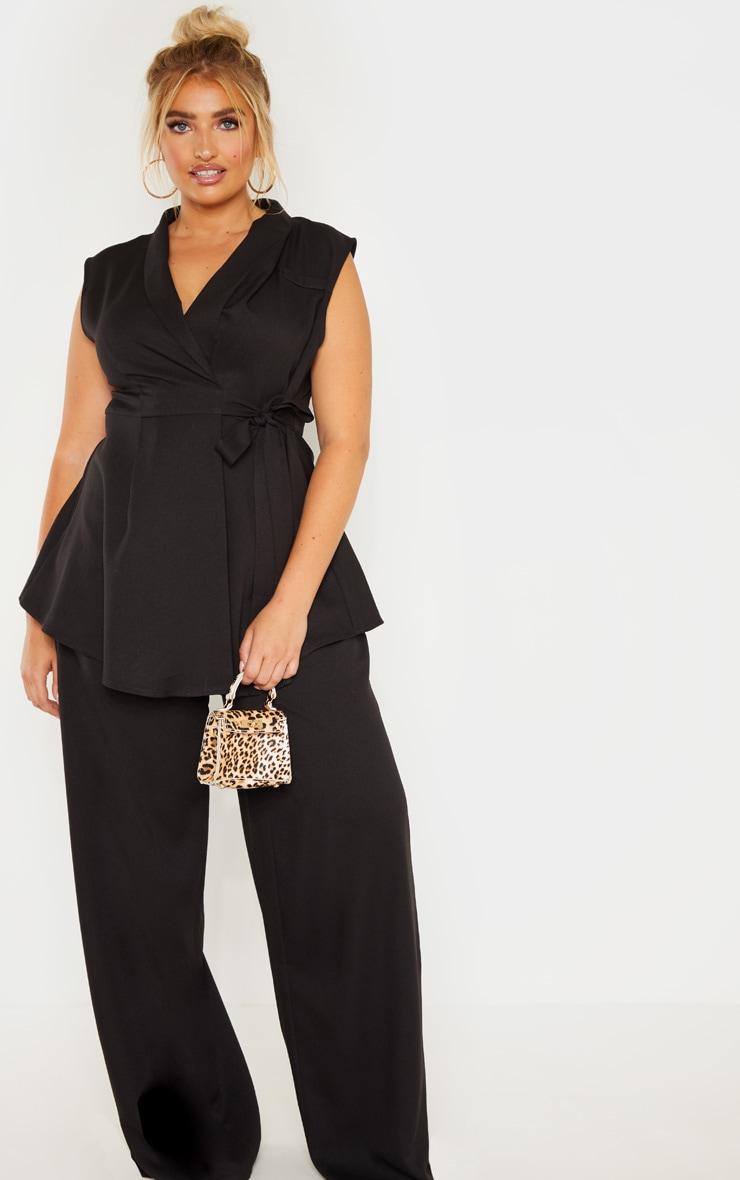 Plus Black Drape Detail Sleeveless Blazer 4