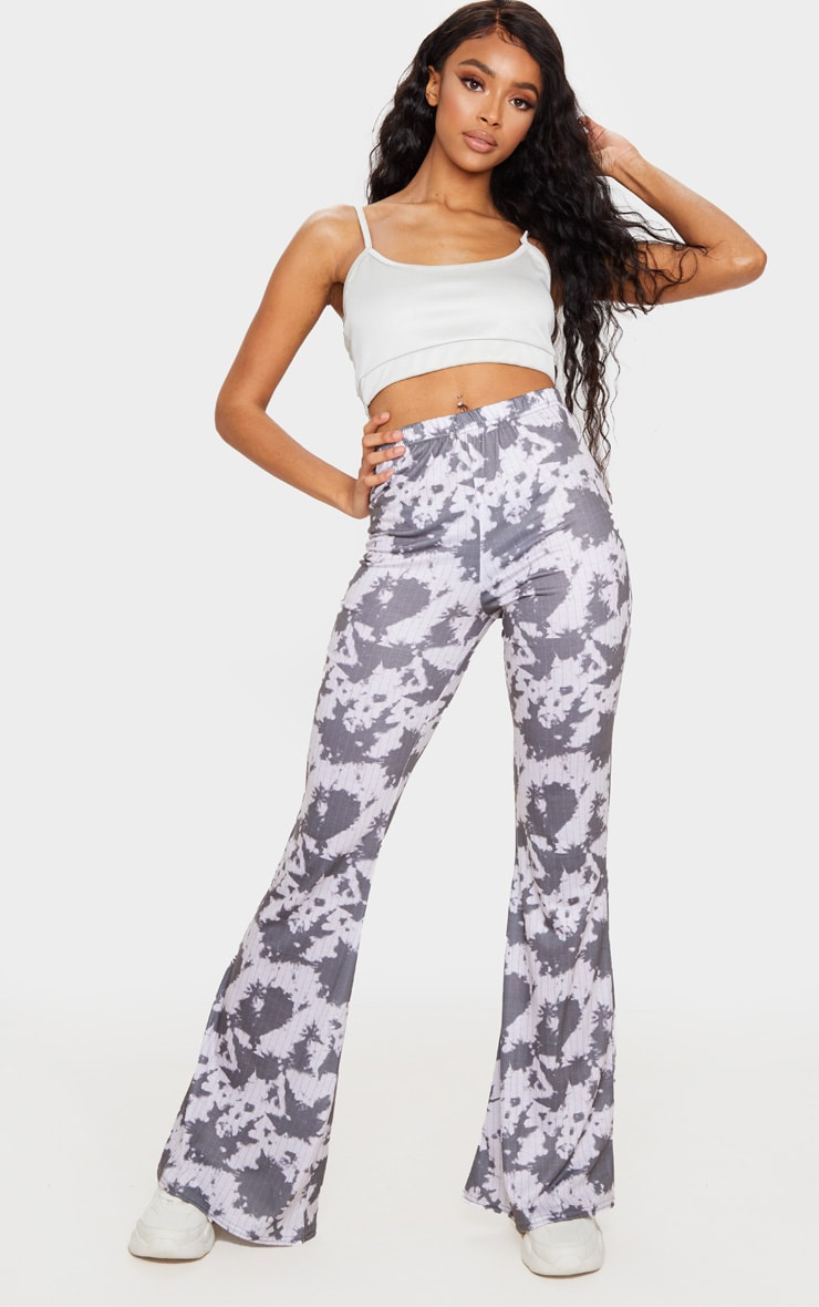 Grey Bleached Pinstripe Print Flare Leg Pants 1