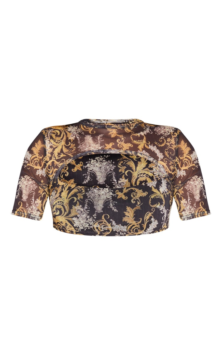 Yellow Baroque Print Mesh Cut Out Crop Top 3