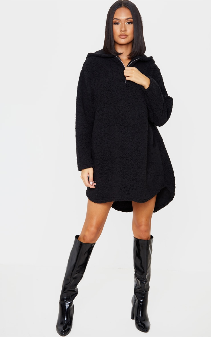 Black Borg Zip Neck Hoodie Oversized Sweater Dress 4