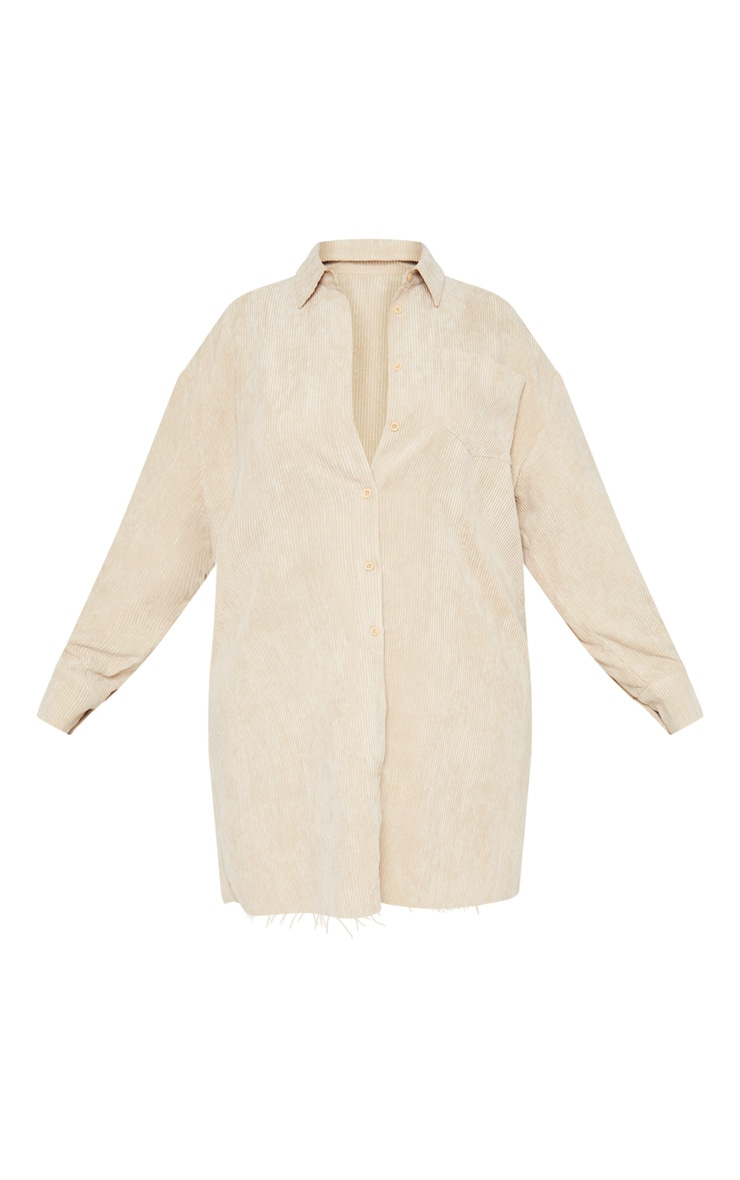 Plus Camel Corduroy Oversized Shirt Dress 3