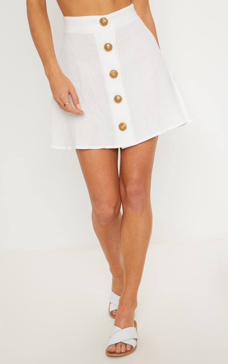 Cream Button Front Linen Feel Mini Skirt 2