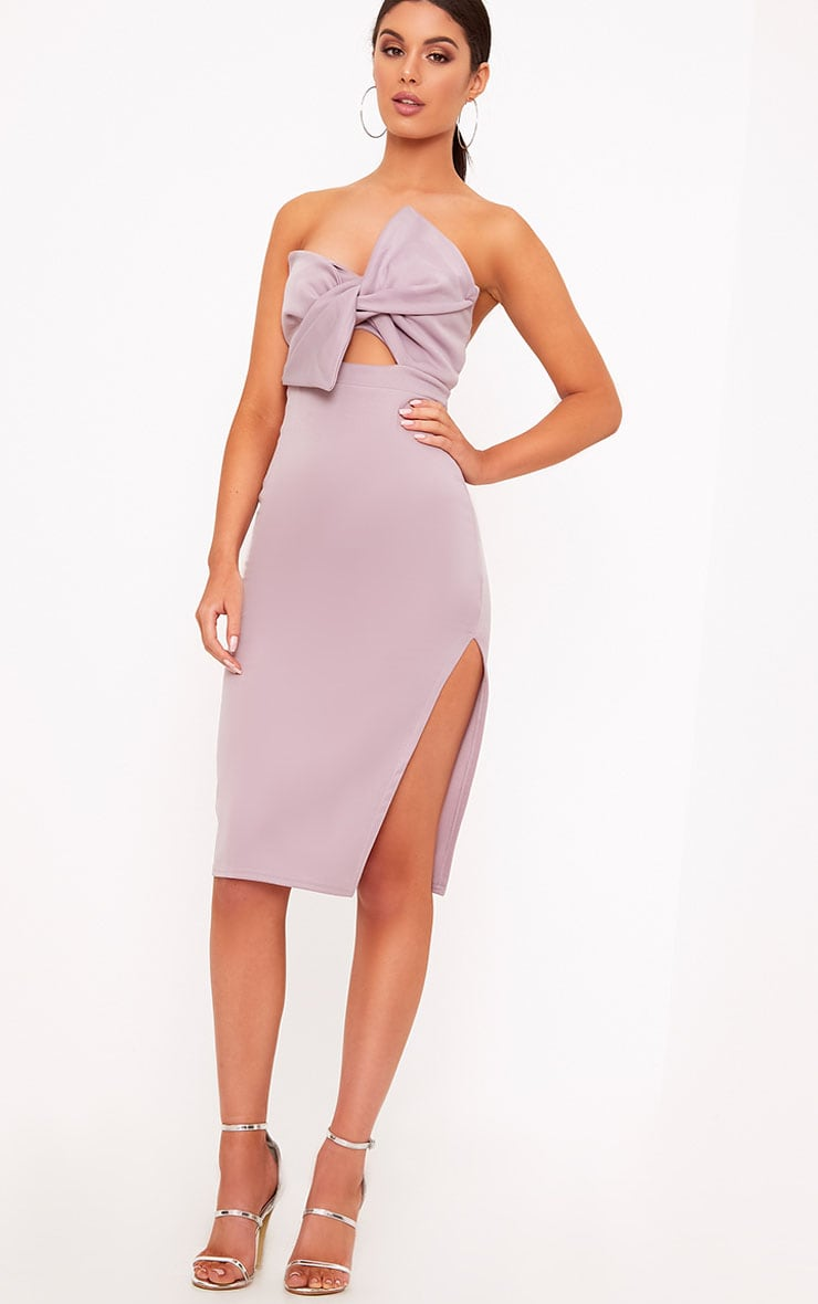 Elisse Mauve Bow Detail Scuba Midi Dress 1
