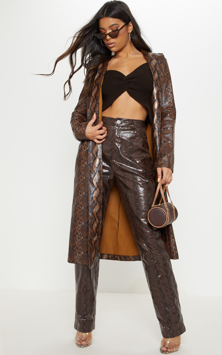 Brown Snake Print PU Trench 1