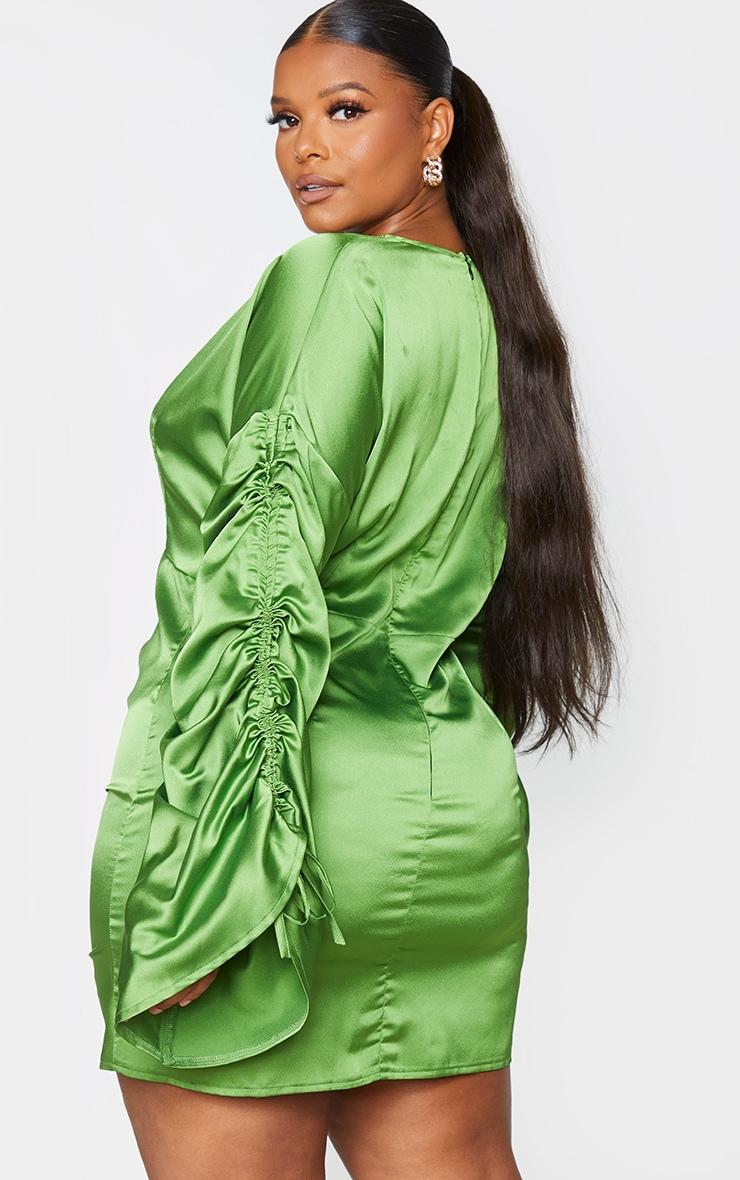 Plus Olive Satin Plunge Ruched Front Dress 2
