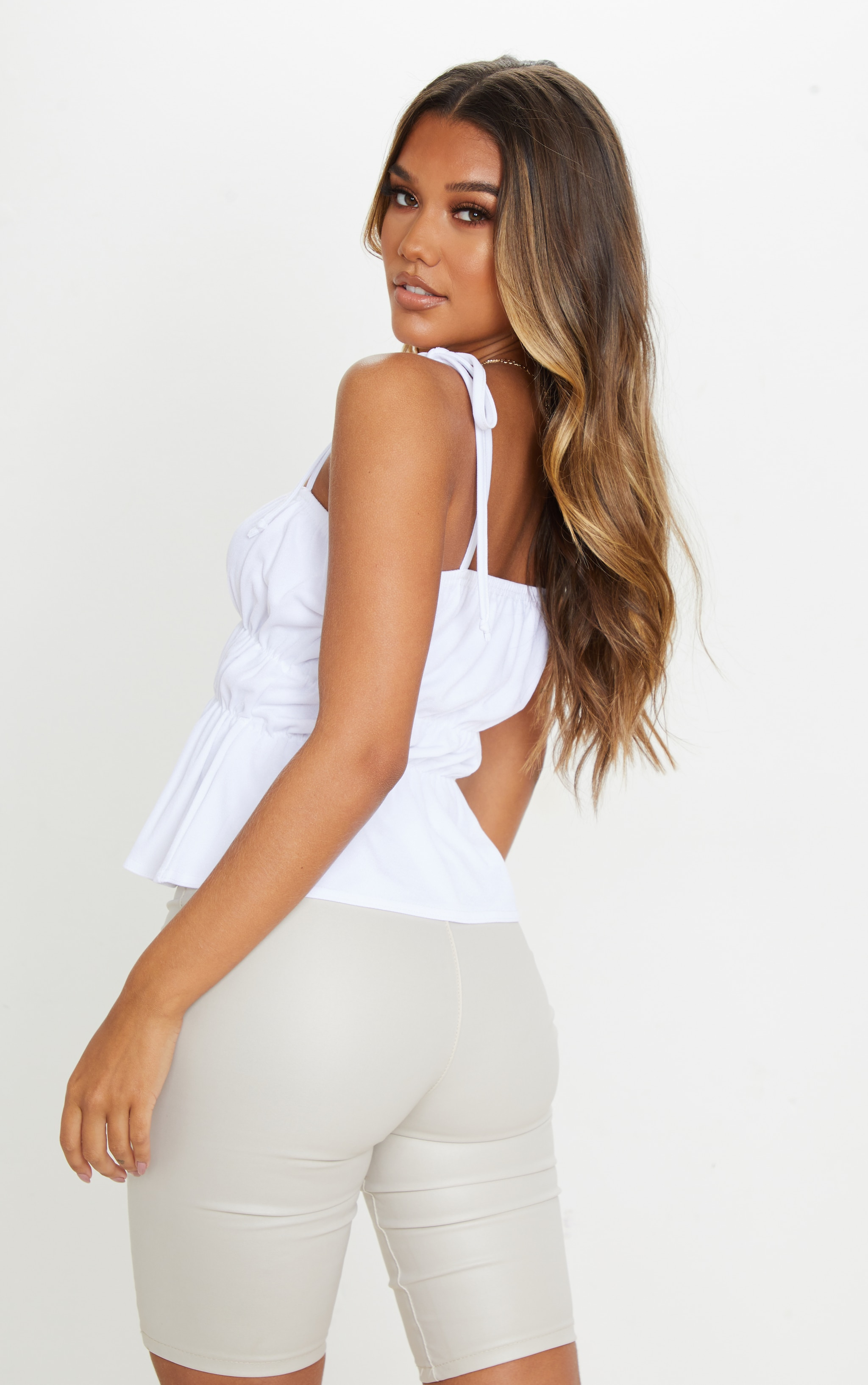 White Crepe Ruched Strappy Crop Top 2
