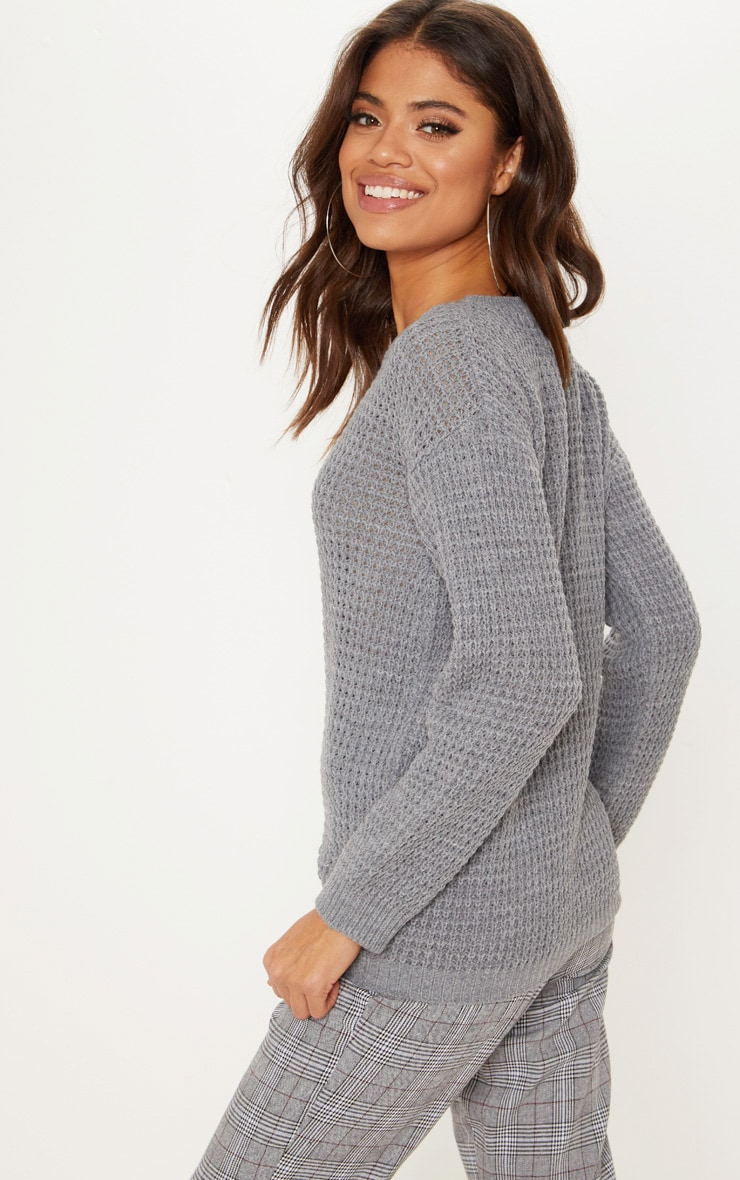 Grey Fisherman Knitted Sweater 2
