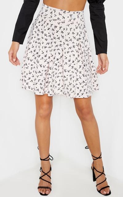 Pale Pink Floral Print Pleated Side Split Tennis Skirt