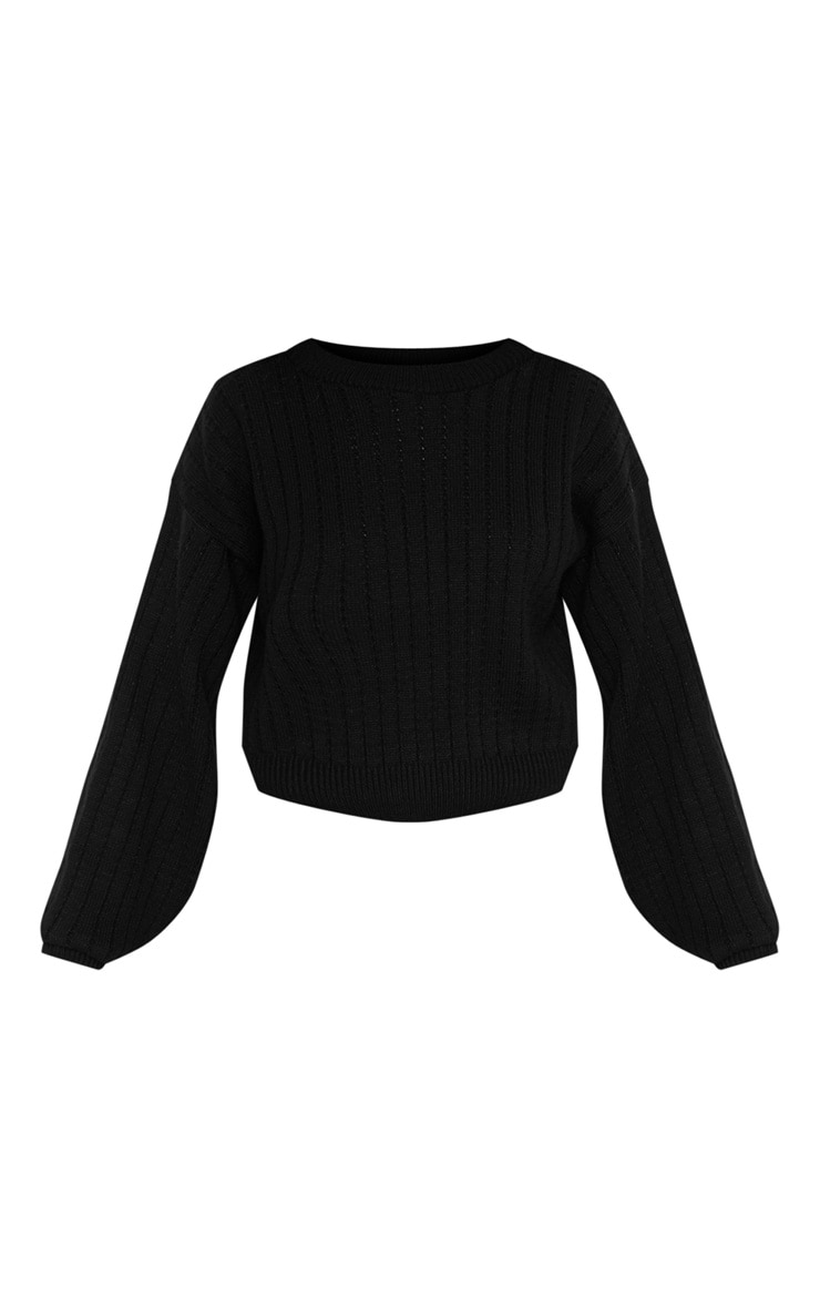 Black Ribbed Balloon Sleeve Cropped Sweater  3