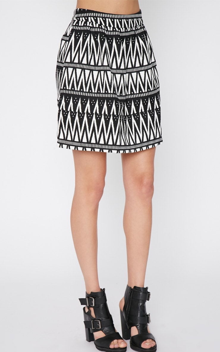 Clemence Monochrome Aztec Swing Skirt 3