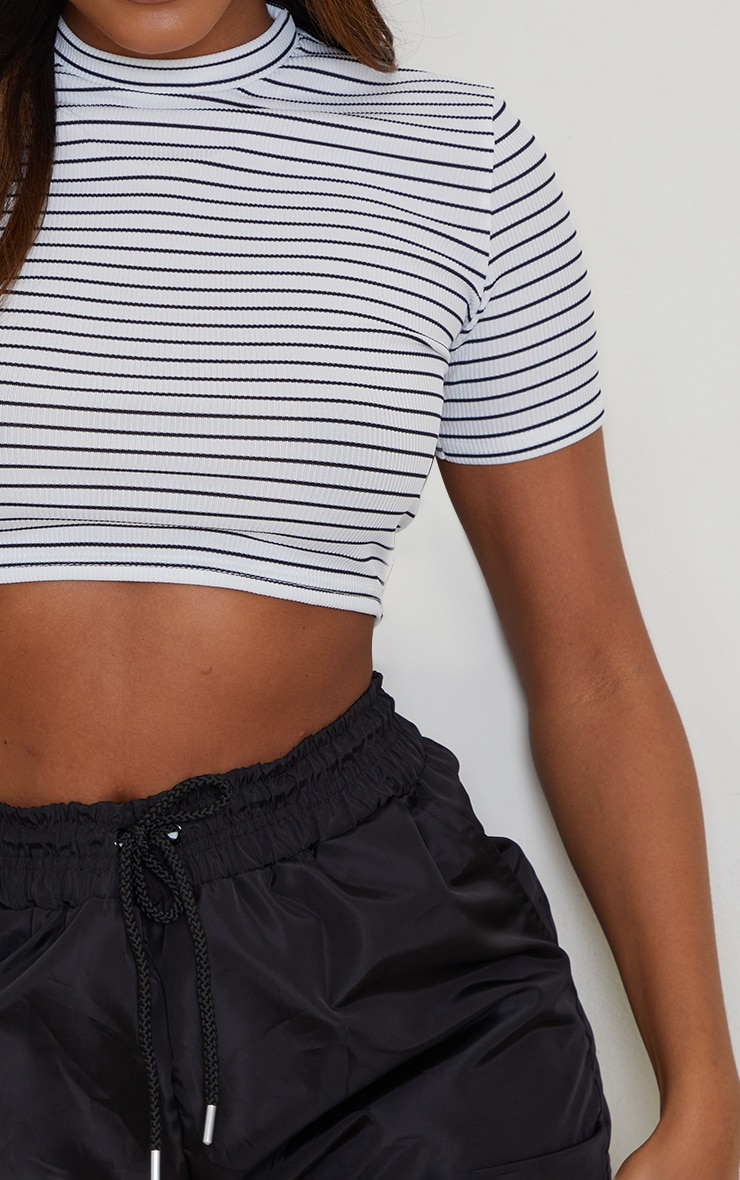 White Stripe Cropped T Shirt 4