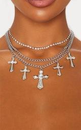 Silver Diamante Cross Multi Chain Necklace 2