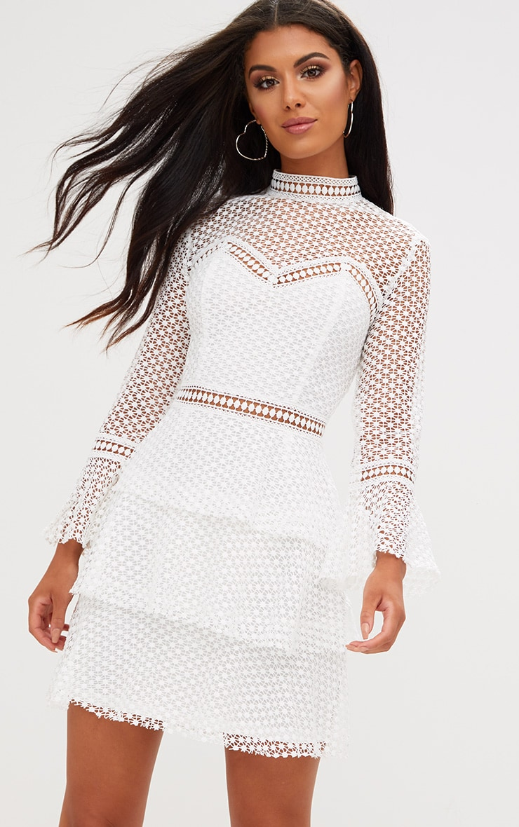 White Flare Sleeve Lace Tiered Mini Dress 1