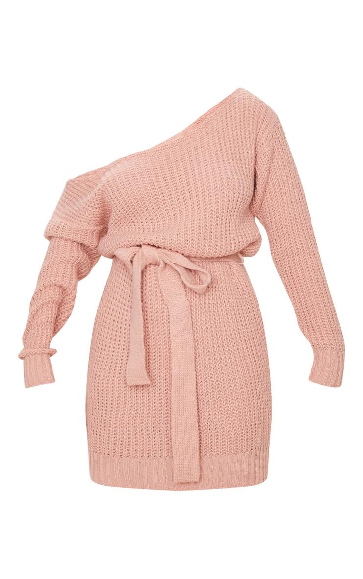 Blush Slash Neck Soft Belted Jumper Dress 5