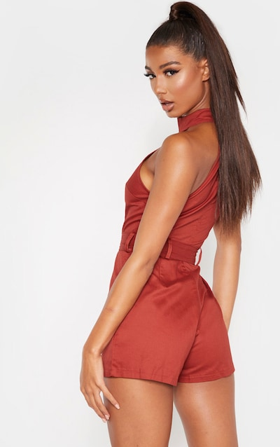 Terracotta High Neck Belted Playsuit