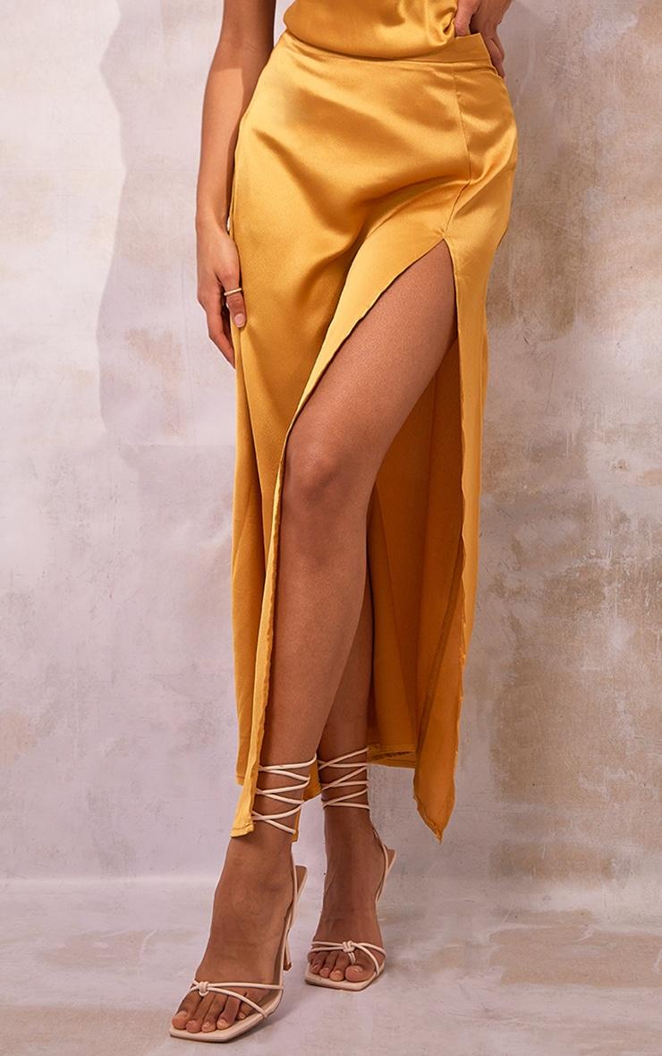 Mustard Satin Split Leg Maxi Skirt 2