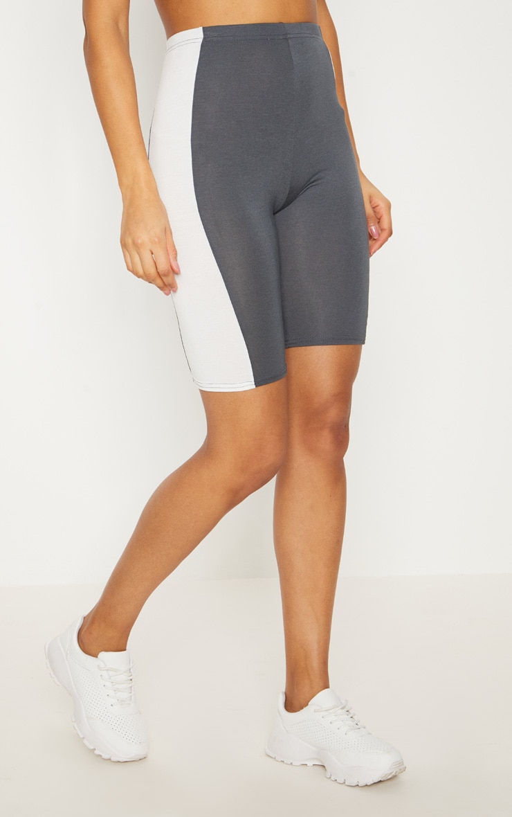 Charcoal Contrast Panel Cycle Shorts 2