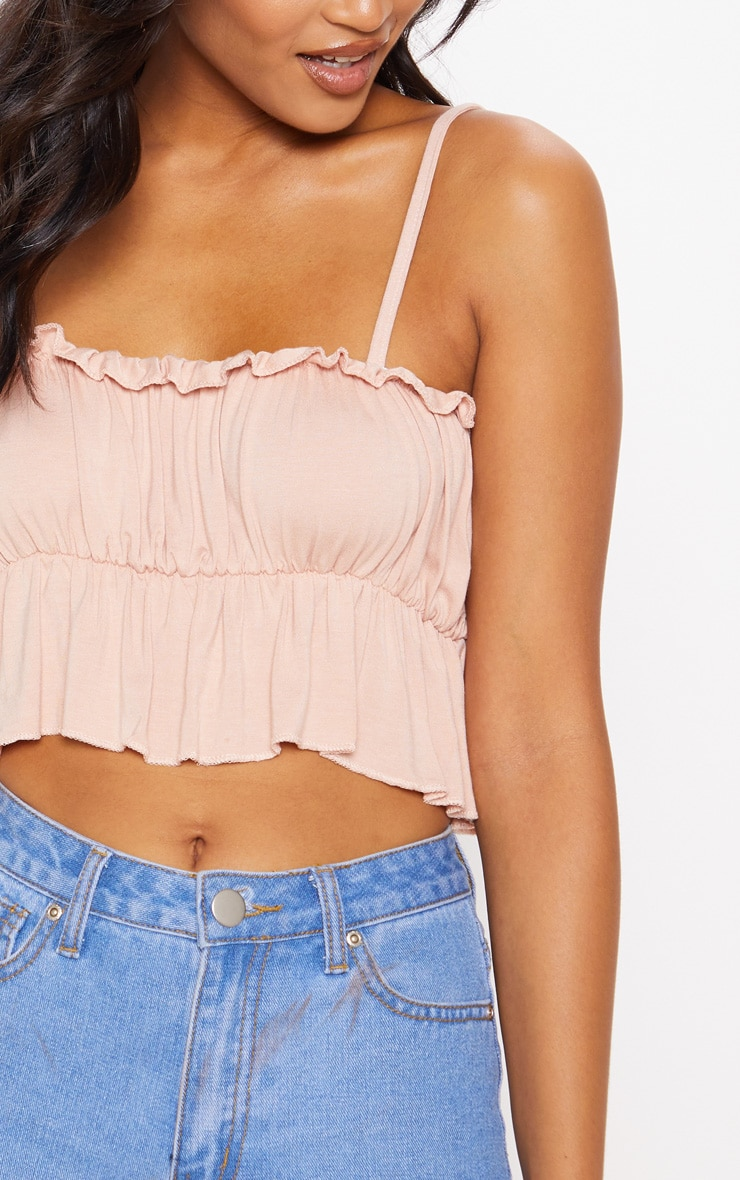 Nude Jersey Ruched Strappy Crop Top 5