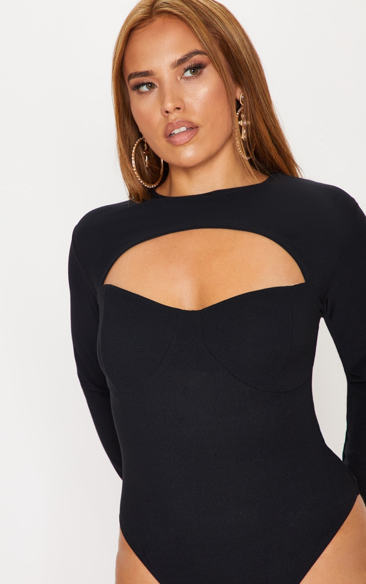 Plus Black Cut Out Detail Bust Cup Bodysuit 7