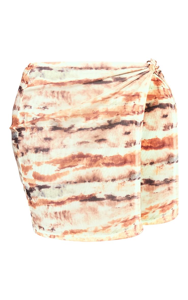 Shape Soft Brown Tie Dye Mesh Ring Detail Split Bodycon Skirt 6