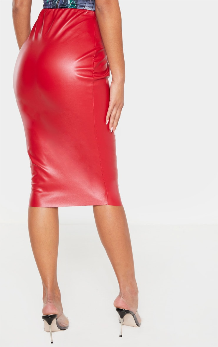 Red Basic Faux Leather Midi Skirt 4