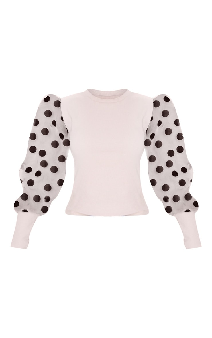 Nude Polka Dot Organza Sleeve Top 5